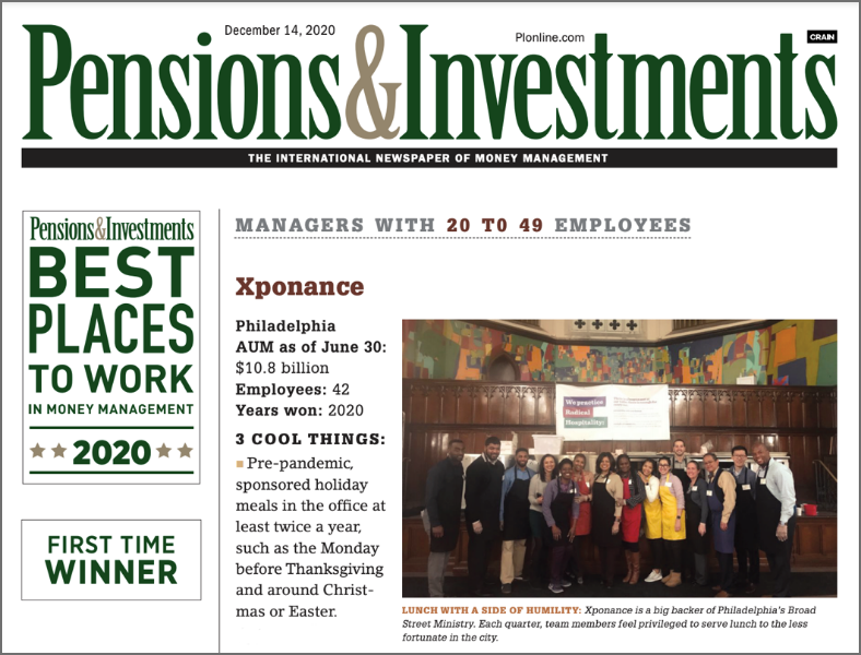 Xponance Named One Of Pensions & Investments Best Places To Work In Money Management